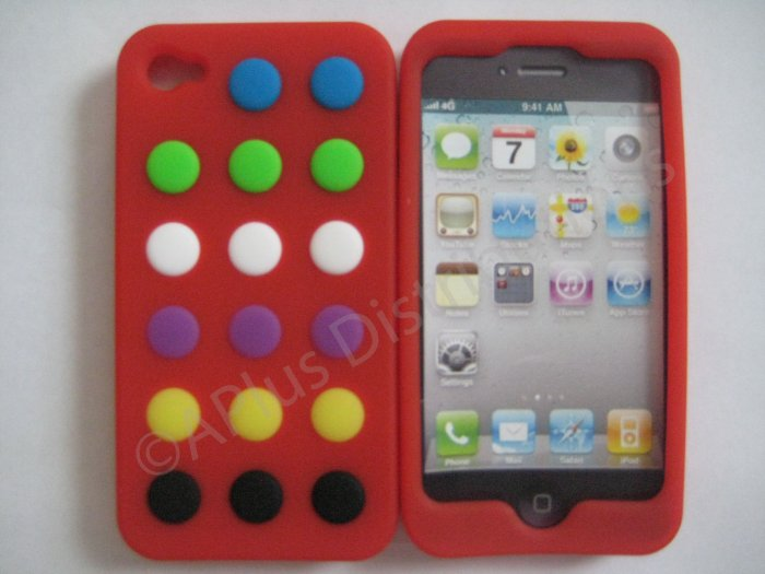 New Red Colorful Beans Dots Design Silicone Cover For iPhone 4 - (0145)