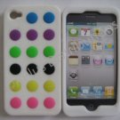 New White Colorful Beans Dots Design Silicone Cover For iPhone 4 - (0146)