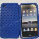 New Dark Blue Multi-Bumps Design Silicone Cover For iPhone 4 - (0163)