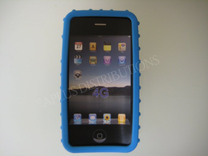 New Light Blue Multi-Bumps Design Silicone Cover For iPhone 4 - (0162)