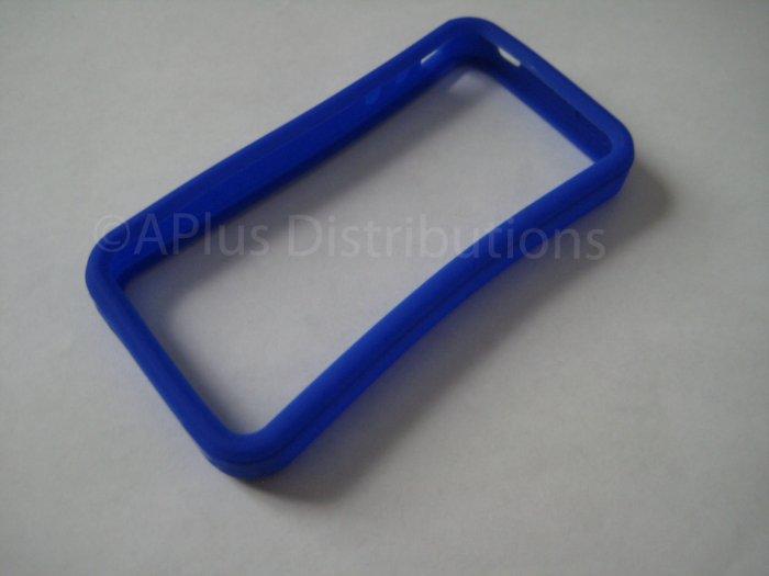 New Dark Blue Bumper Design Silicone Cover For iPhone 4 - (0117)