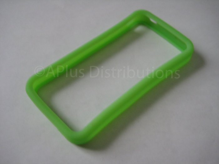 New Lime Green Bumper Design Silicone Cover For iPhone 4 - (0115)