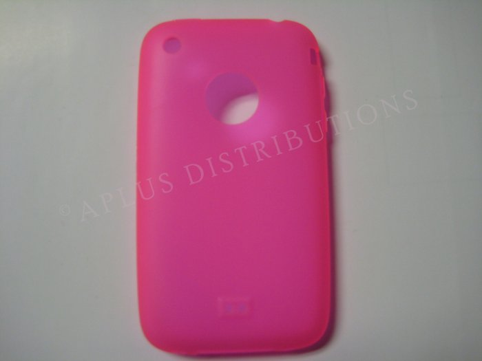 New Hot Pink Transparent W/Charm Hole Design TPU Cover For iPhone 3G 3GS - (0006)