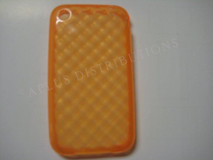 New Orange Big Diamond Cut Pattern TPU Cover For iPhone 3G 3GS - (0009)