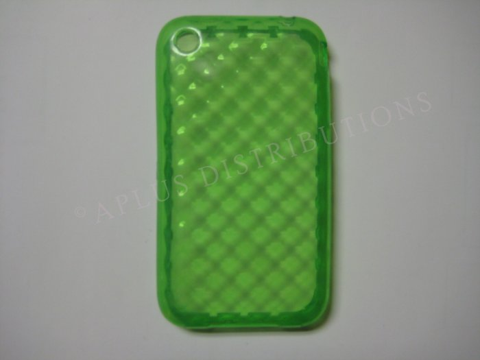New Green Big Diamond Cut Pattern TPU Cover For iPhone 3G 3GS - (0010)