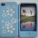 New Light Blue Hawaiian Print Flower Design Silicone Cover For iPhone 4 - (0122)