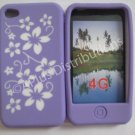 New Purple Hawaiian Print Flower Design Silicone Cover For iPhone 4 - (0121)