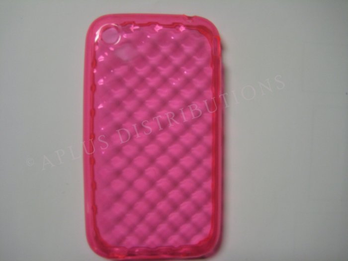 New Pink Big Diamond Cut Pattern TPU Cover For iPhone 3G 3GS - (0012)