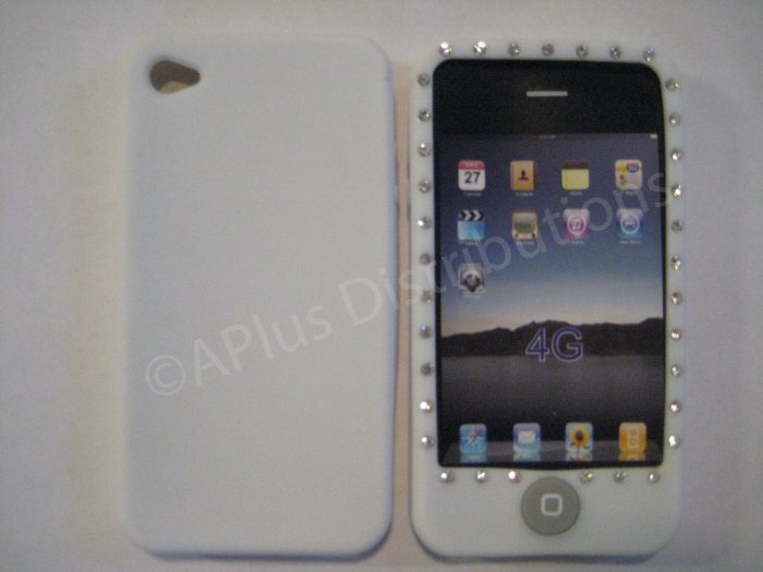 New White Diamond Outlined Design Silicone Cover For iPhone 4 - (0150)