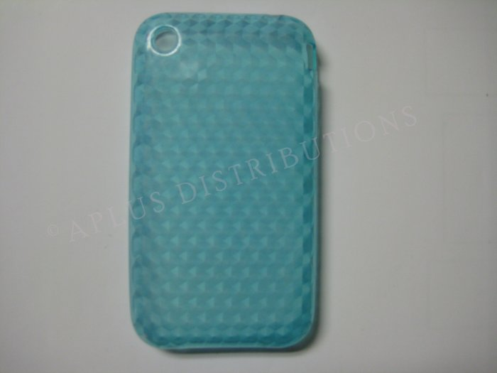 New Blue Diamond Cut Pattern TPU Cover For iPhone 3G 3GS - (0015)