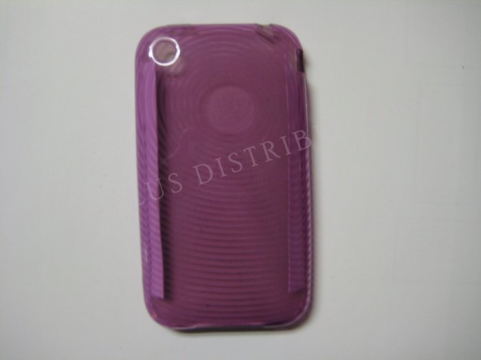 New Purple Transparent Thumb Print Design TPU Cover For iPhone 3G 3GS - (0018)