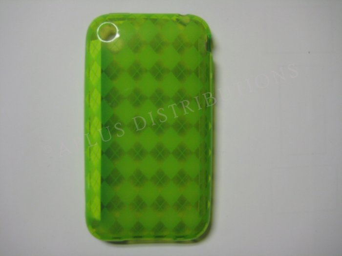 New Green Transparent Plaid Print Design TPU Cover For iPhone 3G 3GS - (0023)