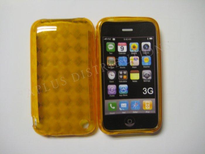 New Orange Transparent Plaid Print Design TPU Cover For iPhone 3G 3GS - (0025)