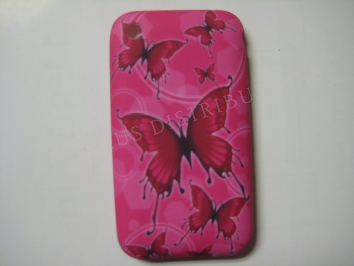 New Hot Pink Multi Butterflies Design TPU Cover For iPhone 3G 3GS - (0027)