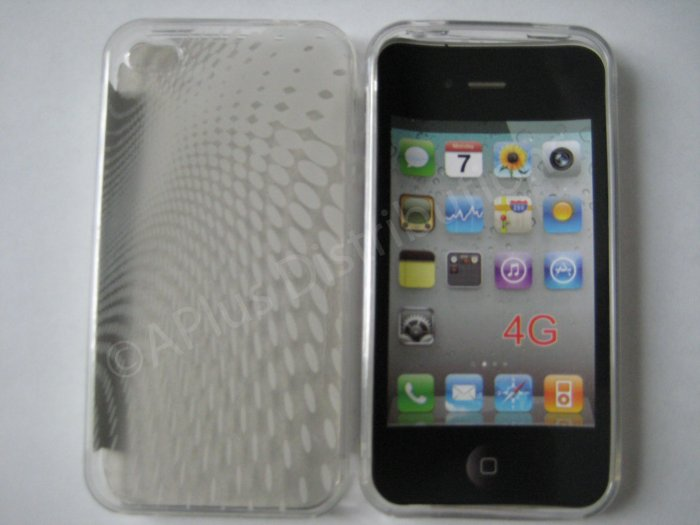 New Clear Transparent Roundlets Design TPU Cover For iPhone 4 - (0087)