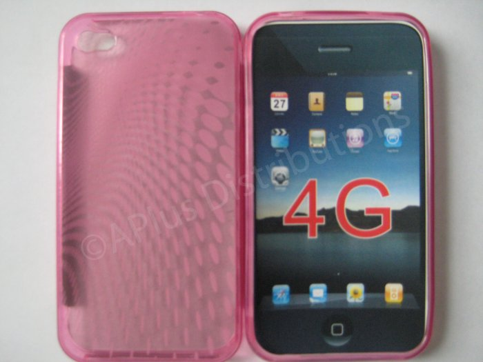 New Pink Transparent Roundlets Design TPU Cover For iPhone 4 - (0081)