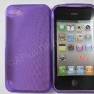 New Purple Transparent Roundlets Design TPU Cover For iPhone 4 - (0082)