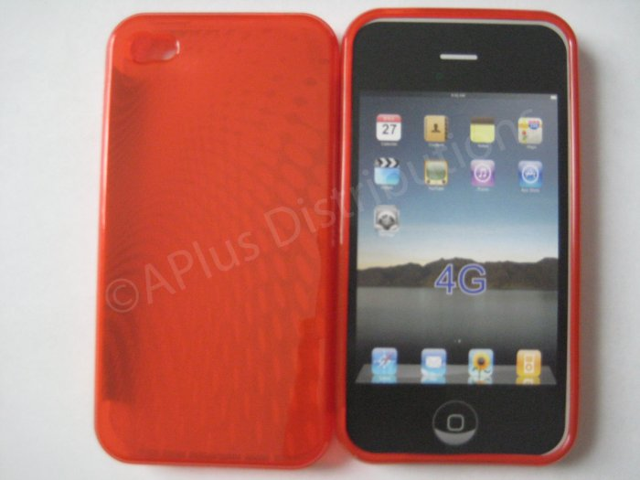 New Red Transparent Roundlets Design TPU Cover For iPhone 4 - (0086)