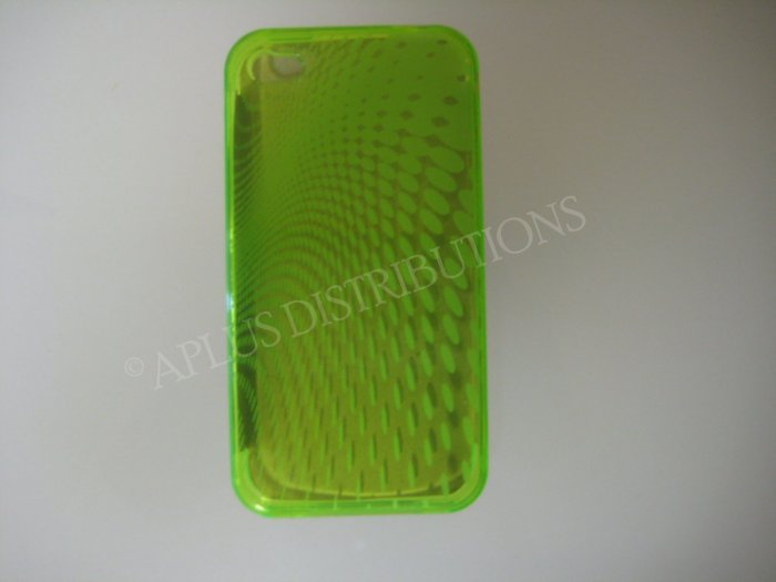 New Lime Green Transparent Roundlets Design TPU Cover For iPhone 4 - (0085)