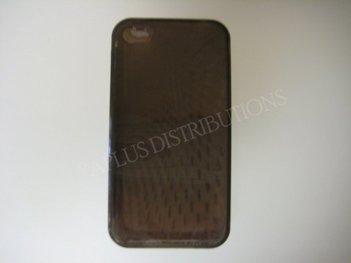 New Black Transparent Roundlets Design TPU Cover For iPhone 4 - (0083)