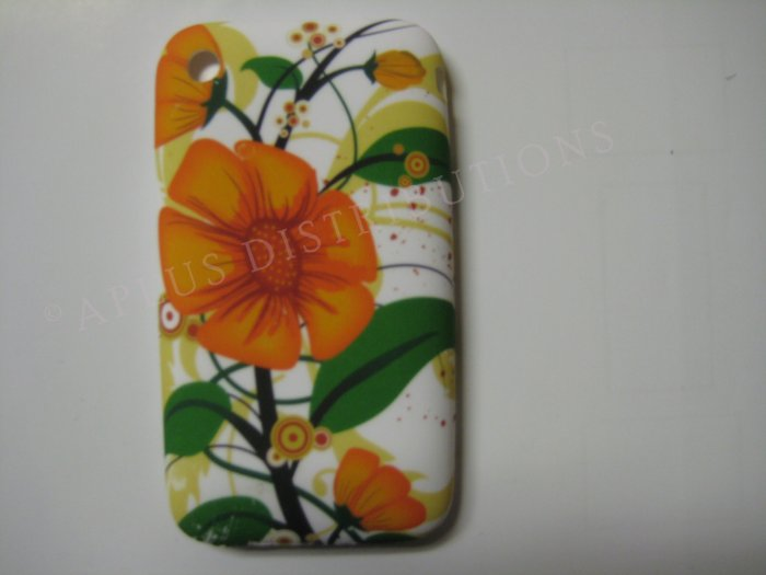 New Orange Big Flower Design TPU Cover For iPhone 3G 3GS - (0034)