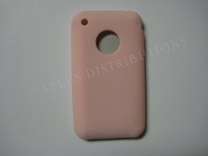 New Peach Thumb Print Pattern Silicone Cover For iPhone 3G 3GS - (0001)