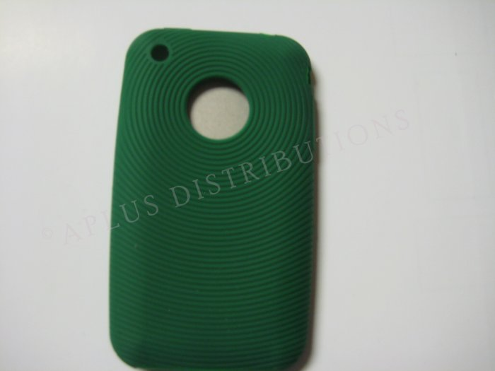 New Dark Green Thumb Print Pattern Silicone Cover For iPhone 3G 3GS - (0005)