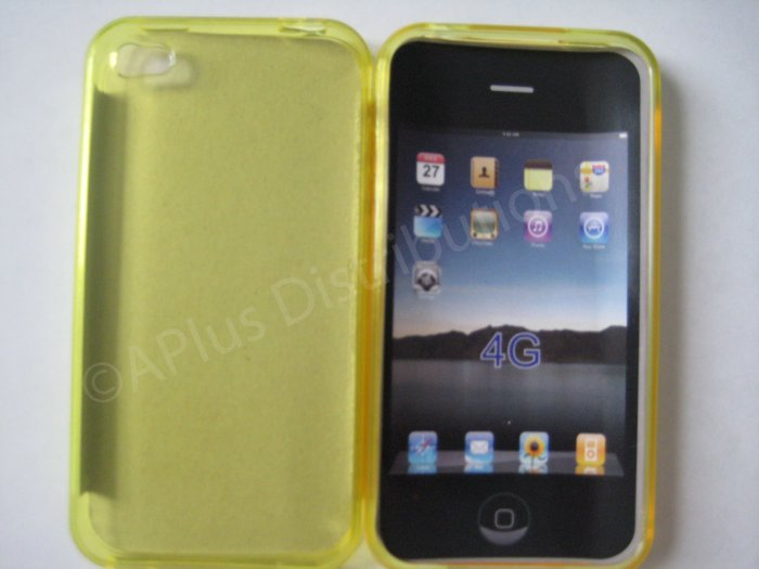 New Yellow Transparent Solid Color Design TPU Cover For iPhone 4 - (0068)