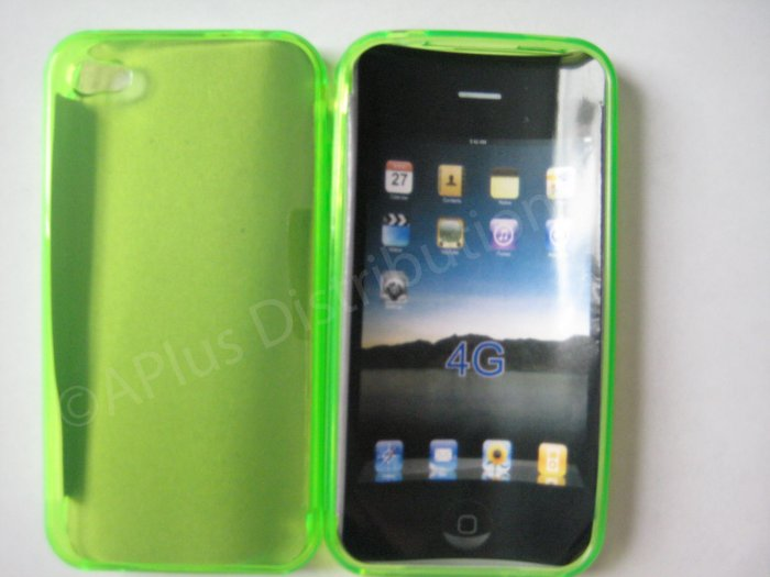 New Lime Green Transparent Solid Color Design TPU Cover For iPhone 4 - (0066)