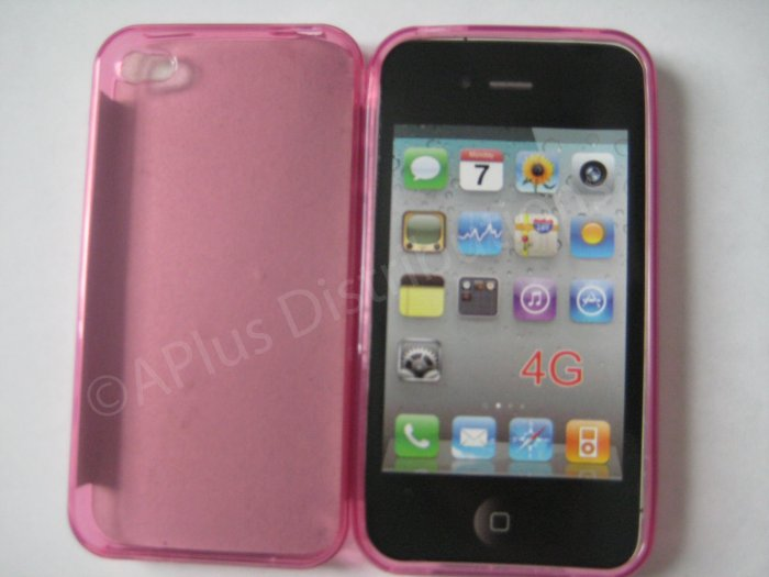 New Pink Transparent Solid Color Design TPU Cover For iPhone 4 - (0064)