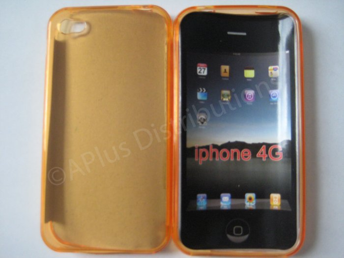 New Orange Transparent Solid Color Design TPU Cover For iPhone 4 - (0065)