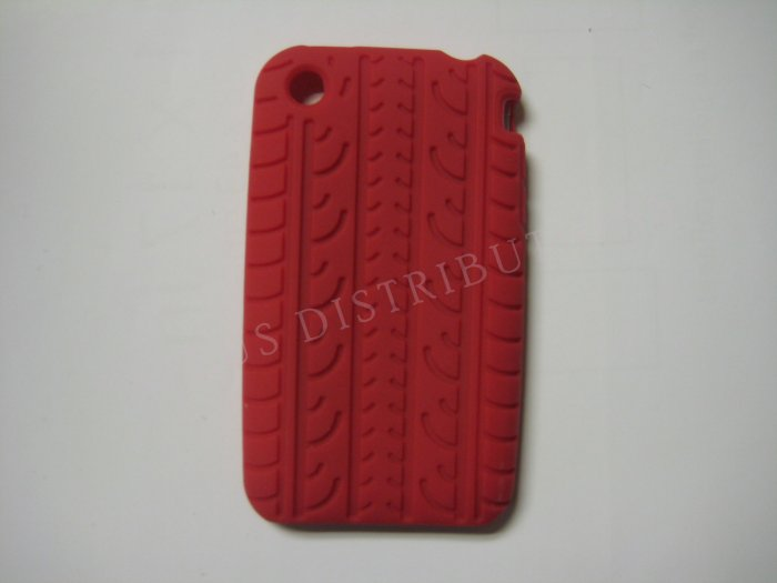 New Red Tire Print Pattern Silicone Cover For iPhone 3G 3GS - (0010)