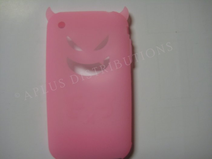 New Light Pink Devil Design Silicone Cover For iPhone 3G 3GS - (0022)
