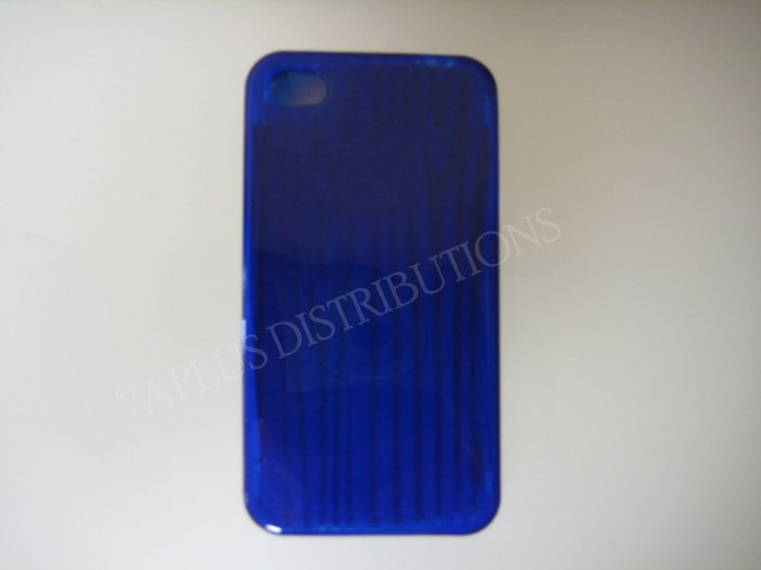 New Royal Blue Wood Design TPU Cover For iPhone 4 - (0063)