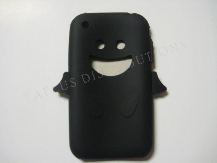 New Black Angel Design Silicone Cover For iPhone 3G 3GS - (0027)