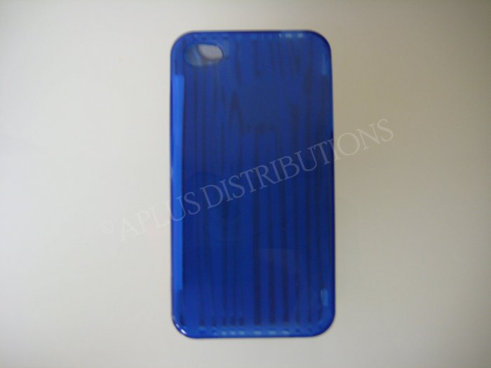 New Dark Blue Tpu Wood Design TPU Cover For iPhone 4 - (0062)
