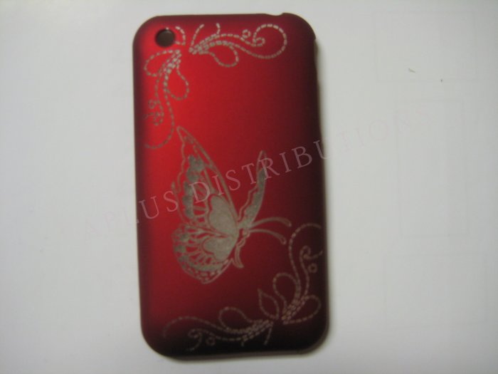 New Red Butterfly Design Hard Protective Cover For iPhone 3G 3GS - (0002)