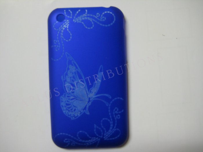 New Blue Butterfly Design Hard Protective Cover For iPhone 3G 3GS - (0004)