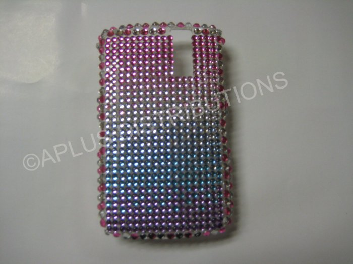 New Pink Shades Of Pink N Purple Bling Diamond Case For Blackberry 8300 - (0010)