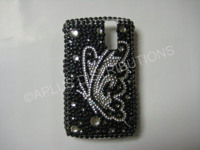 New Black Butterfly Series Sideview Bling Diamond Case For Blackberry 8300 - (0024)