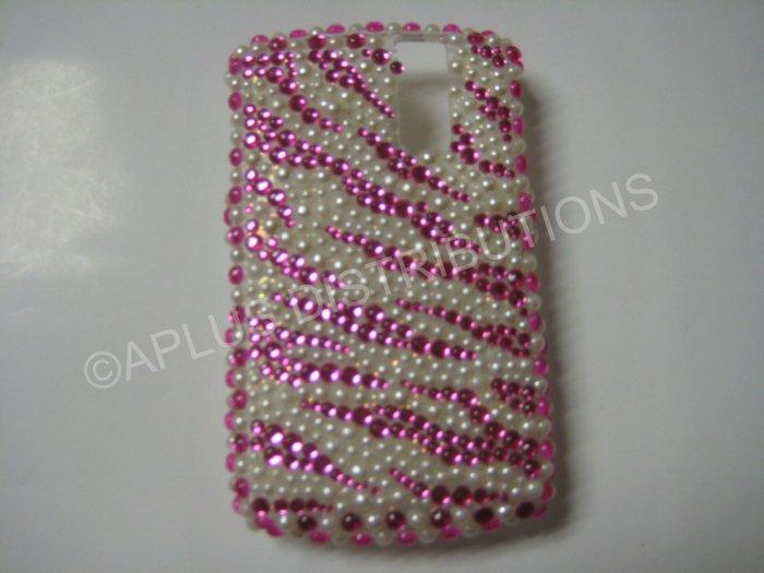 New Hot Pink Zebra Design (Pearl) Bling Diamond Case For Blackberry 8300 - (0110)