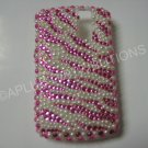 New Hot Pink Zebra Design (Pearl) Bling Diamond Case For Blackberry 8300 - (0110)