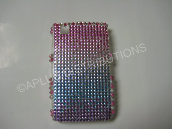 New Pink Shades Of Pink N Purple Bling Diamond Case For Blackberry 8520 - (0010)
