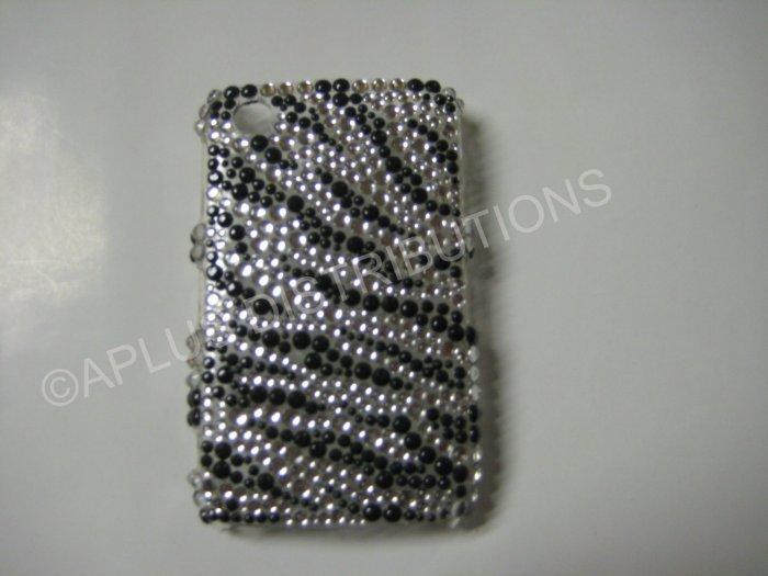New Black Zebra Design Bling Diamond Case For Blackberry 8520 - (0020)