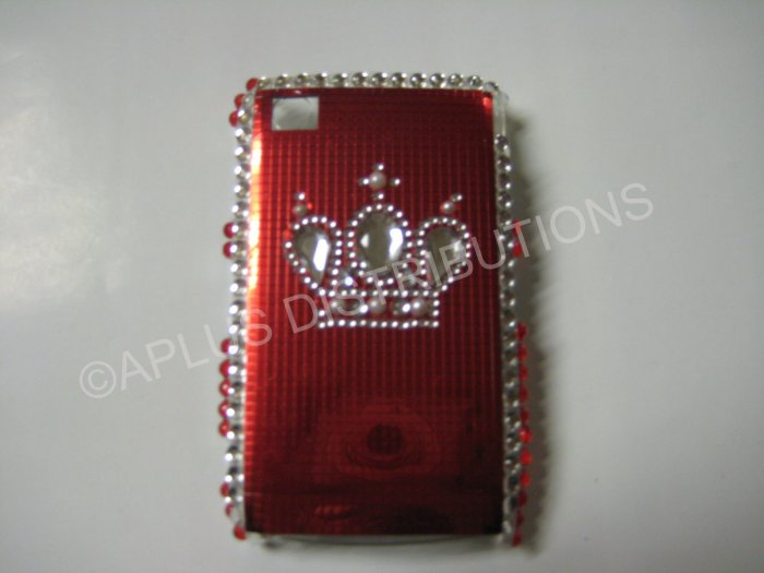 New Red Crown On Squares Bling Diamond Case For Blackberry 8520 - (0053)