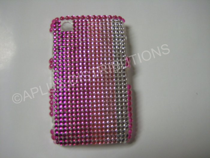 New Pink Shades Of Pink Bling Diamond Case For Blackberry 8520 - (0054)
