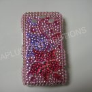 New Hot Pink Holly Flower Bling Diamond Case For Blackberry 9700 - (0088)