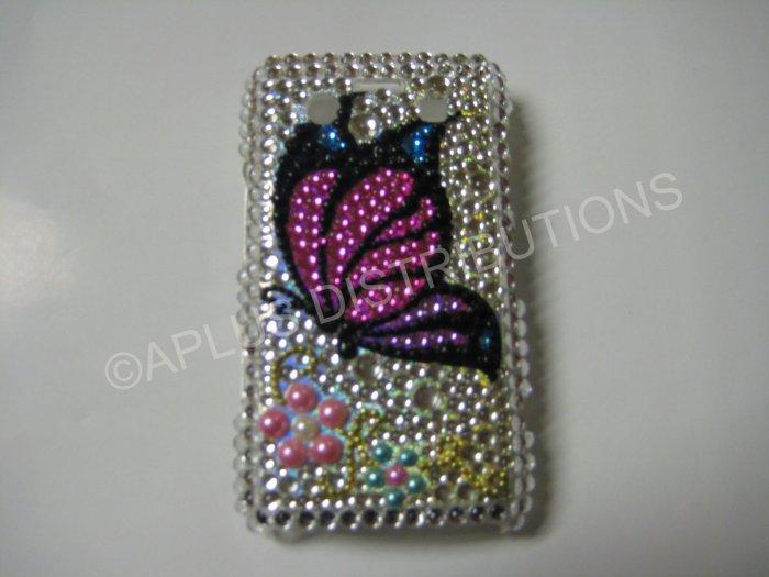 New Pink Butterfly Design Crystal Bling Diamond Case For Blackberry 9700 - (0093)