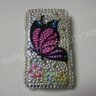New Pink Butterfly Design Crystal Bling Diamond Case For Blackberry 9700 - (0093)