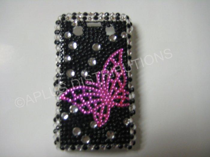 New Black Open Butterfly Bling Diamond Case For Blackberry 9700 - (0096)